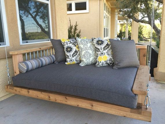 Porch Swing Bed Chaise Lounge Chair, Day bed swing, Outdoor furniture, Southern Porch Swing