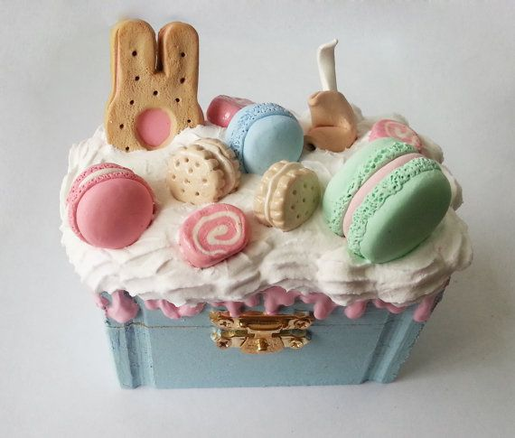 Kawaii Decoden Small Jewelry Box Blue Pastel by MilkberryCrafts, $11.00