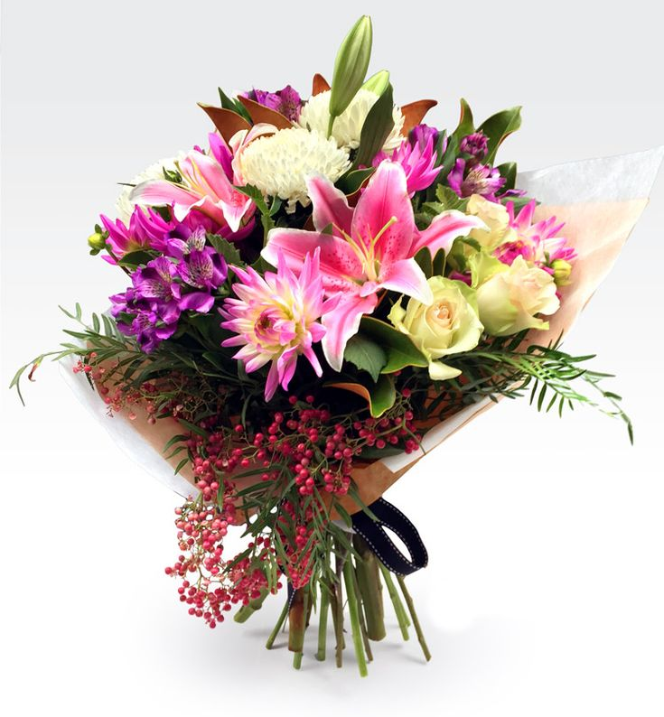 #La_Belle - Hand tied bouquet in shades of pastel pinks, white and cream #flowers. A stunning seasonal mix with a feature of roses. Place your order now.