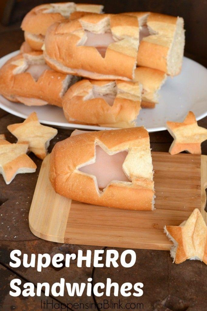 Captain America SuperHERO sandwiches    ItHappensinaBlink.com     #HeroesEatMMs #cbias #shop