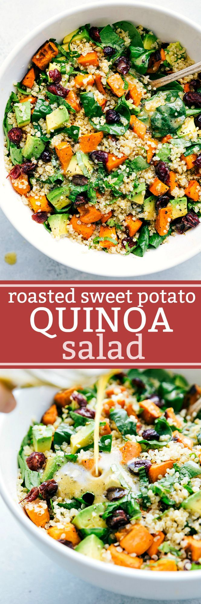 Roasted sweet potato and quinoa salad! Fresh and healthy roasted sweet potato and quinoa salad made with spinach and avocados. A healthy and delicious lemon vinaigrette dressing coats this salad. from chelseasmessyapron.com