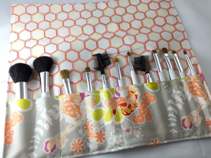 Orange Makeup Brush Roll Makeup Brush Organizer MakeUp Brush Holder Makeup Brush Case- Art Gallery Sweet as Honey Orchard Blossom in Autumn by EcoHipCustomDesigns on Etsy https://www.etsy.com/listing/270214282/orange-makeup-brush-roll-makeup-brush