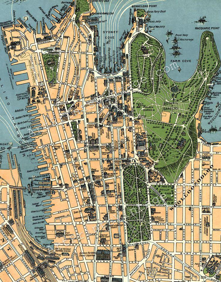 Sydney Australia Vintage Map
