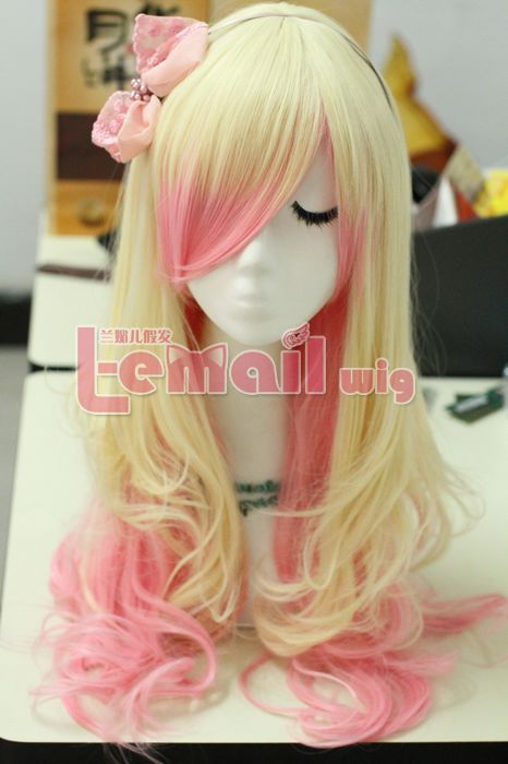 Wigs Pink Hair 63cm Long Zipper Beige Pink Wavy Cosplay