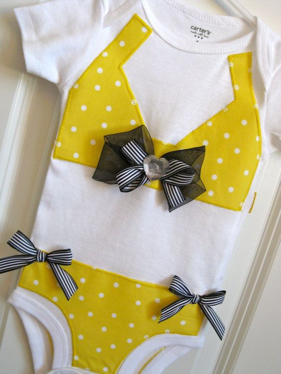 bikini onesie omg soooo cute!Little Girls, Polka Dots, Baby Bikinis, Yellow Polka, Baby Girls, Dots Bikinis, Bikinis Onesies, Shower Gift, Girls Outfit