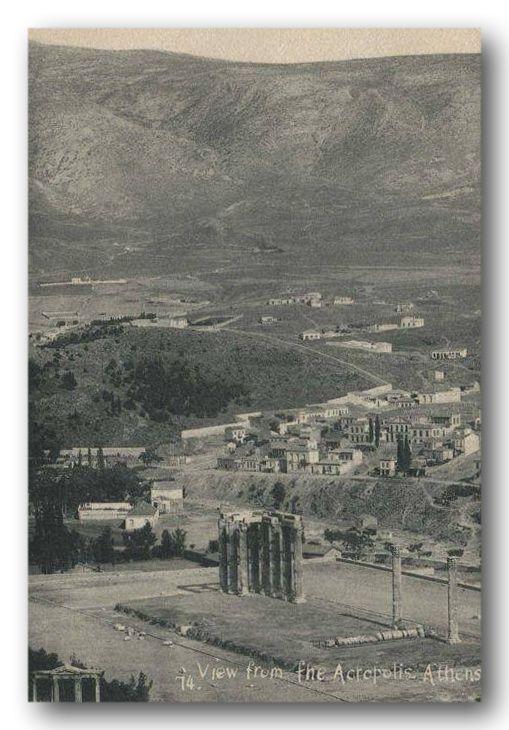 Άποψη από την Ακρόπολη (1914;) Στο βάθος η έκταση, που αργότερα χτίστηκε ο Βύρωνας