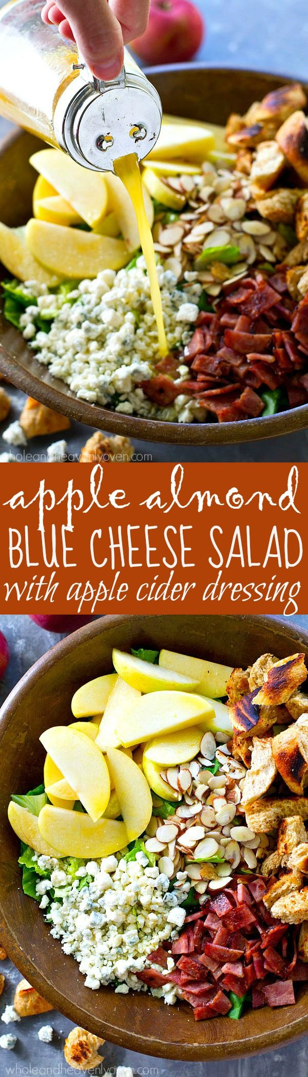 This fall-style apple salad is packed with tons of seasonal fall goodness and a tangy-sweet apple cider dressing drizzled on top brings all the amazing flavors together! (Fall Salad Recipes)