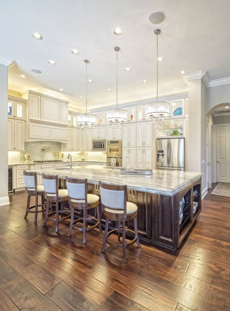 it doesn t get much finer than this u shape kitchen design with chandeliers above the 4 person on t kitchen layout id=80588