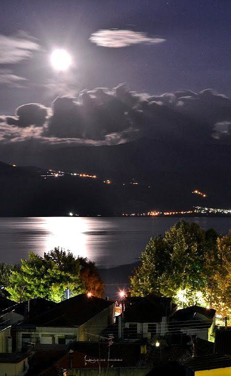 Visit Greece | A night by moonlight. Ioannina Epirus Greece (by Michael Vakaros).... #Relax #relaxing #love