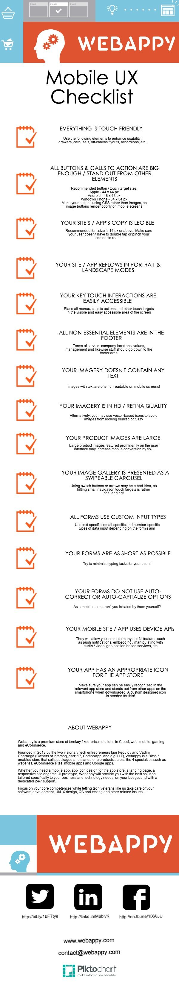 Mobile UX Checklist #infographic