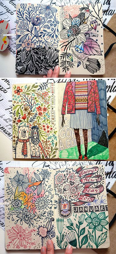 Artist: Anna Aniskina (sketchbook pages - part 3 on Behance) Inspiration: Dense line work with color