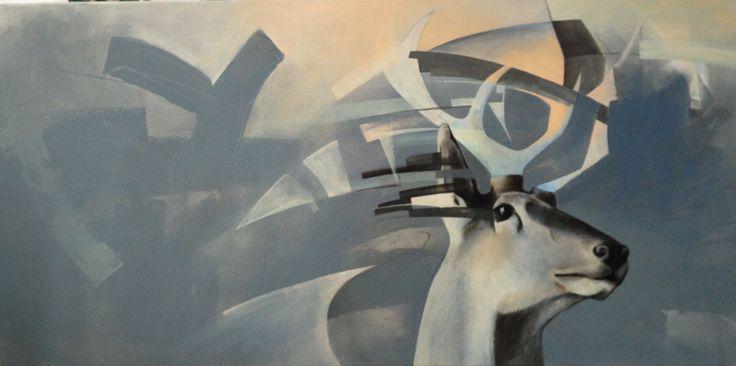 The listnening, painting, acrylic on canvas || Nasłuchiwanie, obraz, akryl na płótnie