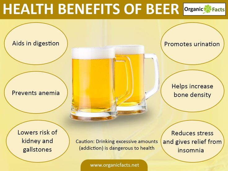 Health benefits of beer include anticancer properties, a reduced risk of cardiovascular diseases, increased bone density, the prevention of dementia and coronary disease, aid to the digestive system, and anti-aging properties, as well as treating diabetes, gallstones, kidney stones, osteoporosis, and hypertension. Beer also acts as a serious stress buster and a diuretic. Beer has greater protein and vitamin B content than wine. Its antioxidant content is equivalent to that of wine.