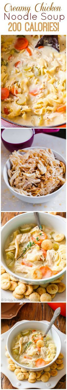 This incredibly thick and comforting soup has only 200 calories! Lightened-Up Creamy Chicken Noodle Soup is my new favorite.
