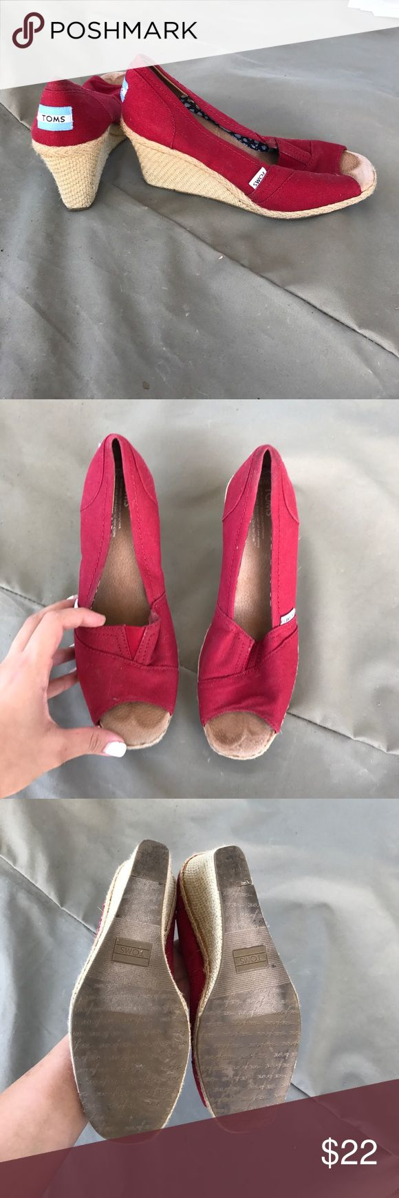 Red TOMS wedges Good condition. Minor signs of wear no rips. TOMS Shoes Wedges
