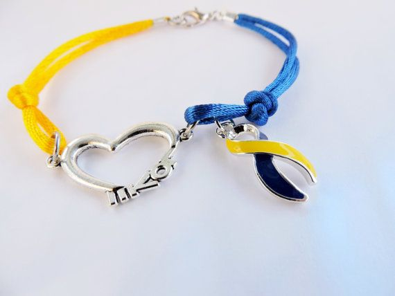 Down Syndrome Cord Bracelet with Ribbon Charm and Love Connector,Down Syndrome Awareness, Down Syndrome Jewelry