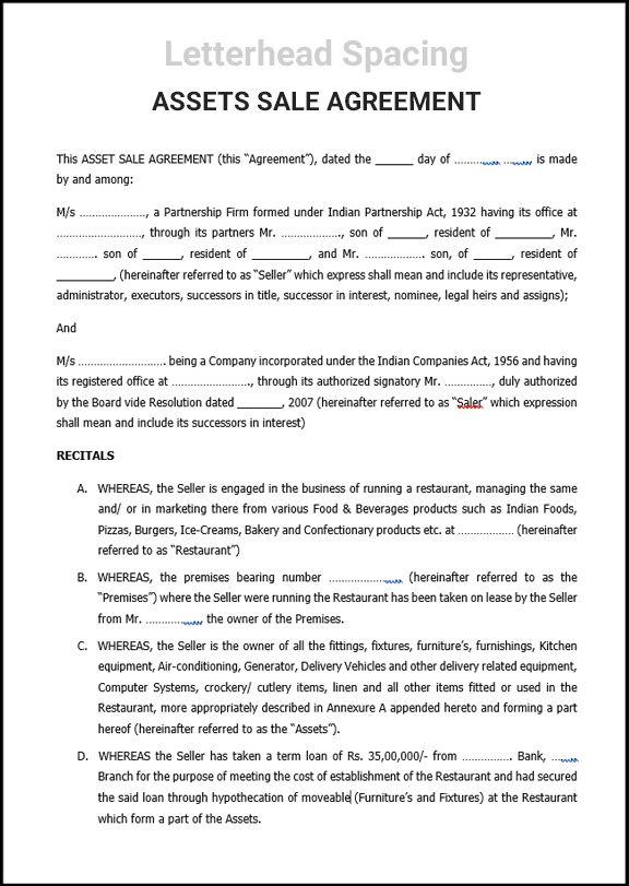 Assets Sale Agreement Smart Business Box Smart Business Agreement Asset