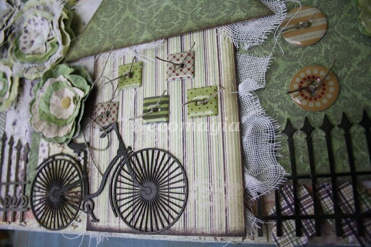 Canvas with decoscrap, flowers and chipboards (detail)