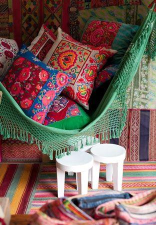 hammock full of pillows