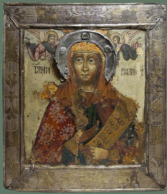 "Старинная Икона в окладе ""Св. Параскева Пятница"" Середина XVIIIв., рис.1:"