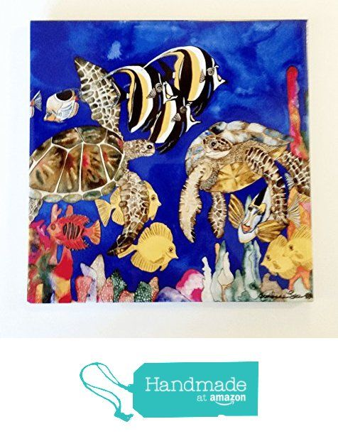"""Ceramic Tile Turtle- """"Ocean of Grace"""" Artwork by Candace Lee. Made in Hawaii. Comes in 3 sizes 4.25"""", 6"""" or 8"""". Tile can be hung on the wall or used as a trivet. from Visions of the Tropics https://smile.amazon.com/dp/B01698SLZW/ref=hnd_sw_r_pi_dp_L9q6yb27ZN7BC #handmadeatamazon"""