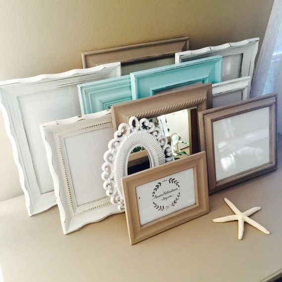 Custom Taupe and Blue Gallery Wall Frame Set by RenoveRestorations
