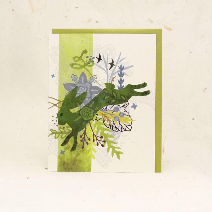 Spring Green Hare Eco-Friendly Greeting Card by Arrowyn Craban Lauer / LittleGoldFoxDesigns on Etsy