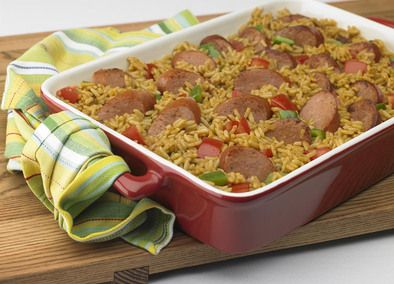 Johnsonville Cajun Sausage and Rice Bake, add shrimp too.
