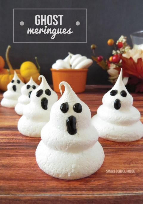 Impress all your guests with these spooky meringues. Use eggs, cream, and sugar to get the right mixture, then pour it in a stacked formation to create these little ghosts.