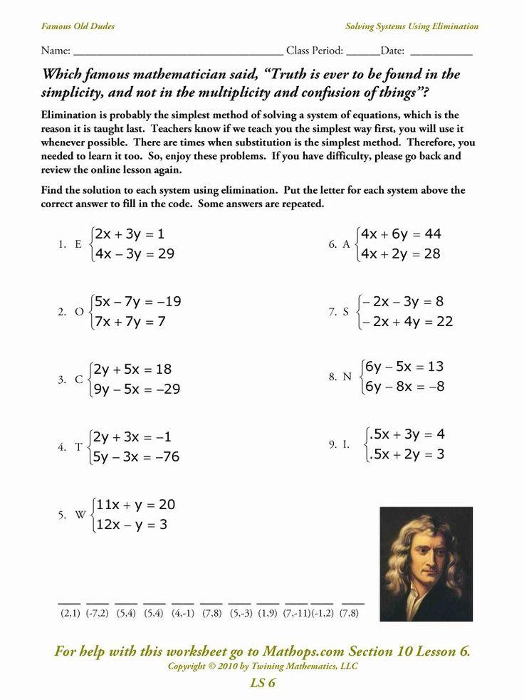 Solving System by Elimination Worksheet Elegant Ls 6 ...
