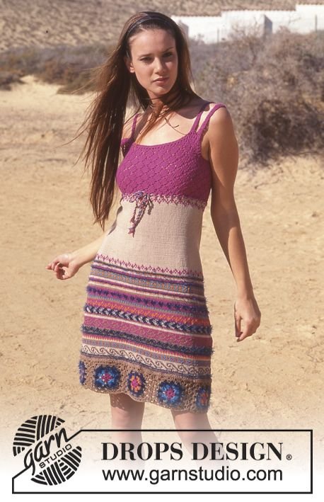 DROPS 65-14 - DROPS kjole i Safran og Pelliza - Free pattern by DROPS Design