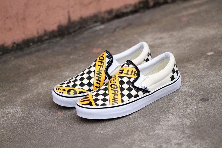 Vans USA.AMAC Customs CheckerBoard Slip-On Classic Yellow Black White Womens Shoes