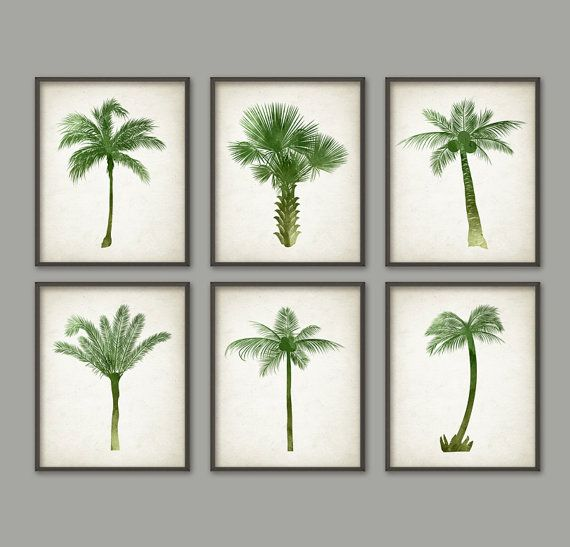 Palm Tree Botanical Wall Art Print Set of 6 - Modern Home Decor - Watercolor Palm Tree Prints - Watercolour Palm Tree Botanical Prints AB463