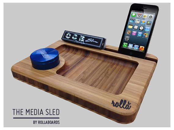 Bamboo Rolling Tray  iPad Dock  Media Sled  Rolling by RollaBoards