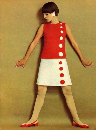 1960s Mod red and white dress