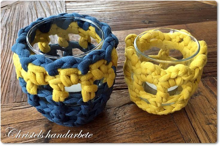 Virkade överdrag till ljushållare, Crochet cover ti light