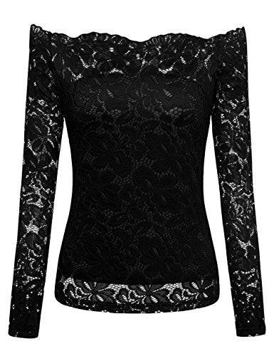 96ac159f6 DJT FASHION DJT Women s Off Shoulder Floral Lace Boat Neck Long Sleeve  Shirt Top