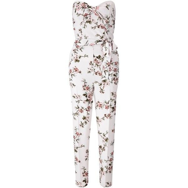 Miss Selfridge Nude Floral Jumpsuit (3,565 DOP) ❤ liked on Polyvore featuring jumpsuits, cream, women, floral jumpsuit, miss selfridge, jump suit, white floral jumpsuit and cream jumpsuit