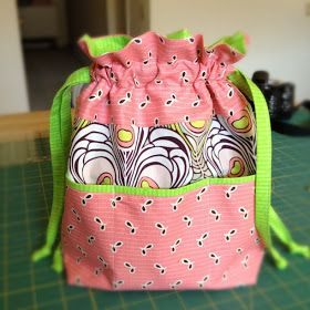 "Lined Drawstring Bag with pockets, A great beginner project, TIP: click on  read  the ""Adding Pockets Tutorial"" 1st before pulling the purse instructions, you'll see why"