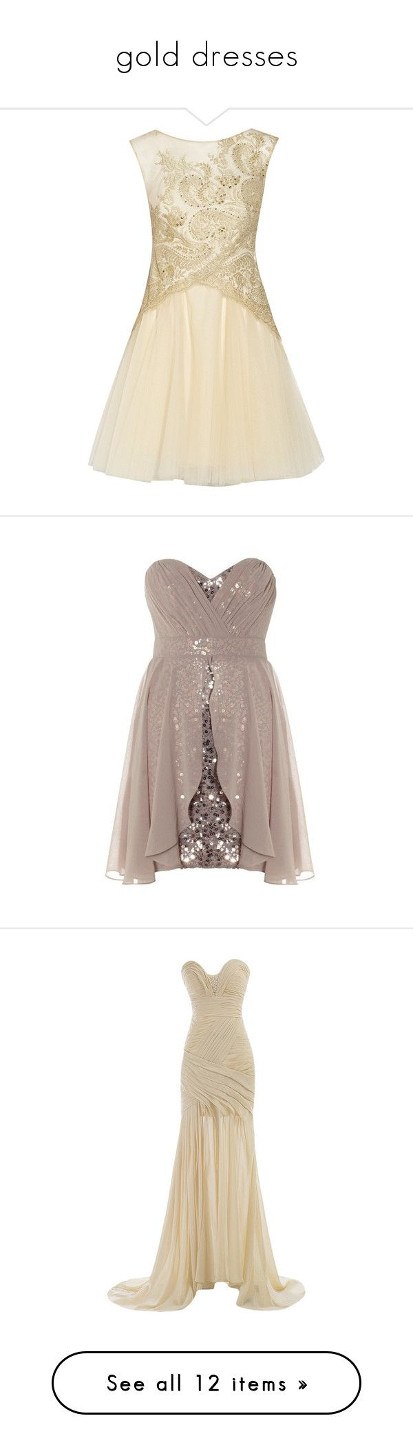 """""""gold dresses"""" by megsjessd99 ❤ liked on Polyvore featuring dresses, short dresses, vestidos, marchesa, ecru, embroidered tulle dress, brown dresses, short tulle dress, embroidery dress and robes"""