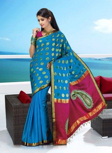 Blue Pure Silk Saree with Zari Polka motifs