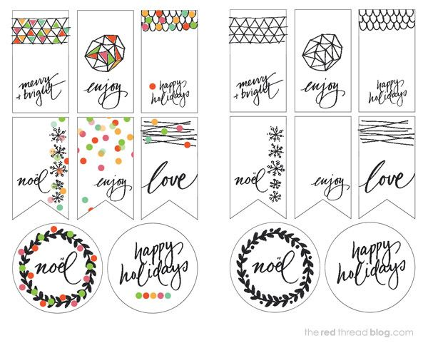 Etiquetas imprimibles >> the red thread printable tags overview