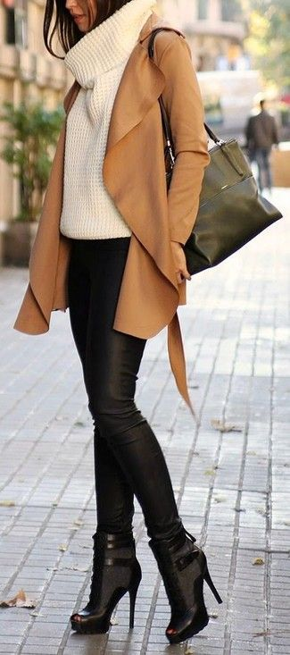 Women's Tan Suede Trenchcoat, White Knit Turtleneck, Black Leather Skinny Pants, Black Cutout Leather Lace-up Ankle Boots
