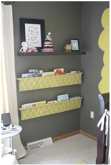 fabric with curtain rod hanging book shelves - better than bookshelves! Brilliant