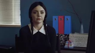 Adult Wednesday Addams job interview