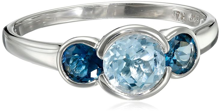 Sterling Silver, London Blue Topaz, and Sky Blue Topaz Three-Stone Ring: Jewelry:
