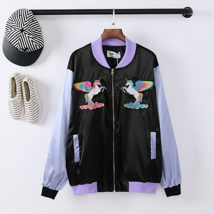 Japanese Harajuku Unicorn Pegasus embroidered baseball uniform jacket couple - Thumbnail 1