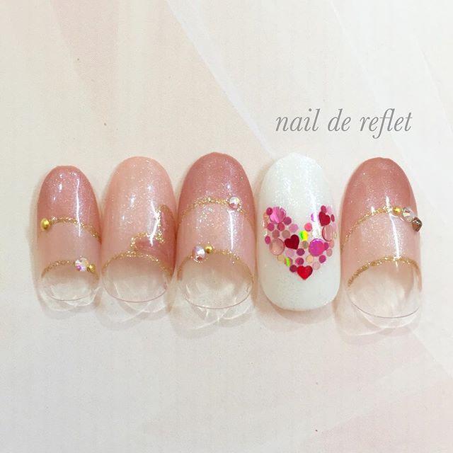 #バレンタイン #ハートネイル #ダブルフレンチ #パール #ネイル #nail #nails #heart #valentine #中田ネイルサロン #naildereflet