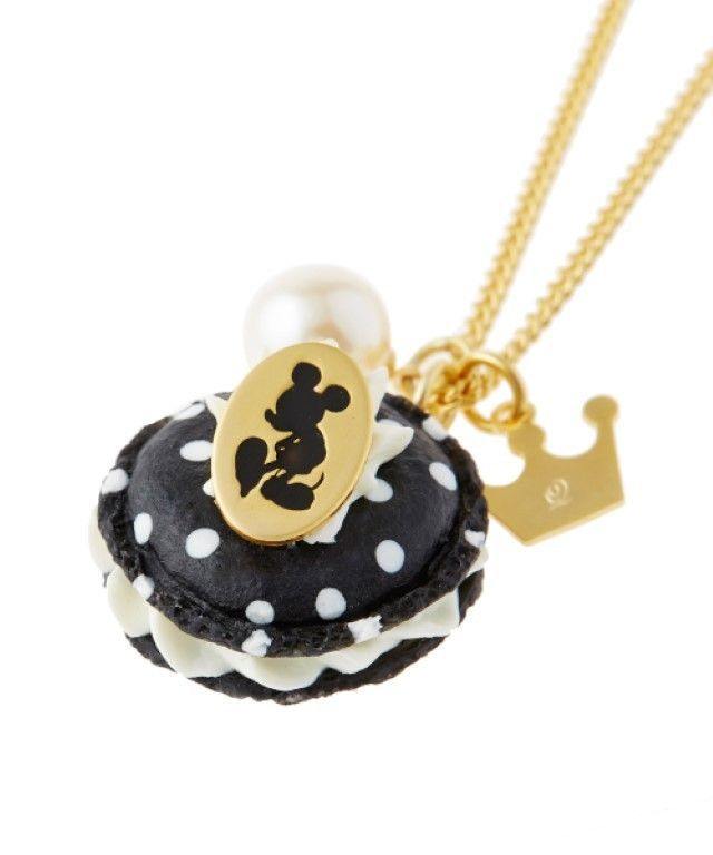 Q-pot Mickey Mouse Charm Polka dot Macaron Black Necklace Pendant from Japan
