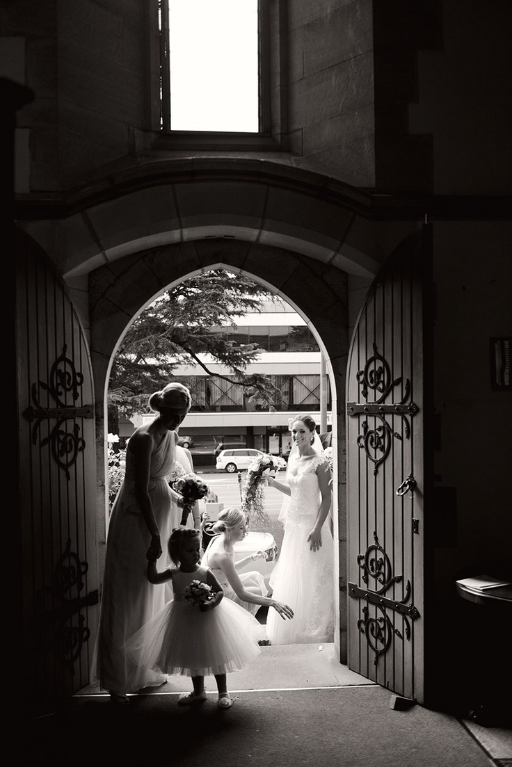 Entering church wedding.